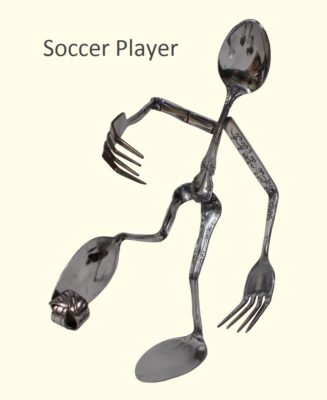 Soccer Player Silverware Figurine