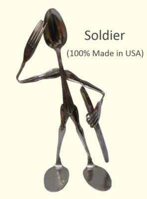 Soldier Military Silverware Figurine